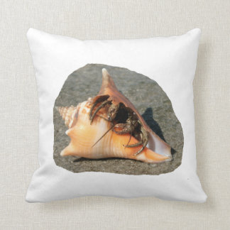 Hermit Crab on Sand Coming out of shell Pillows