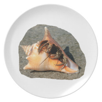 Hermit Crab on Sand Coming out of shell Party Plates