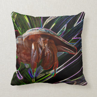 hermit crab out of shell sparkle back throw pillow