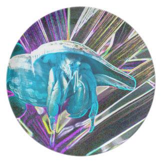 hermit crab sketch blue themed animal dinner plate