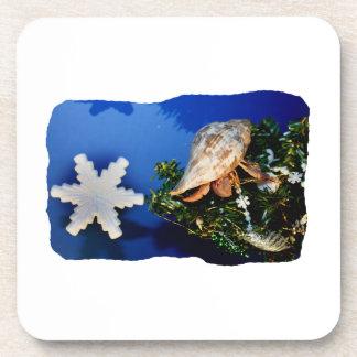 Hermit Crab Star Christmas Tree Design Drink Coaster