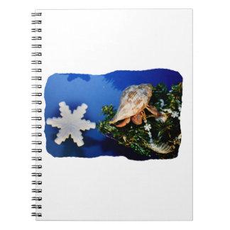 Hermit Crab Star Christmas Tree Design Spiral Note Book