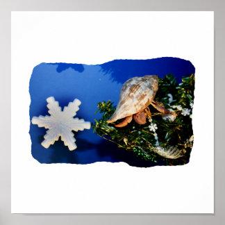 Hermit Crab Star Christmas Tree Design Poster