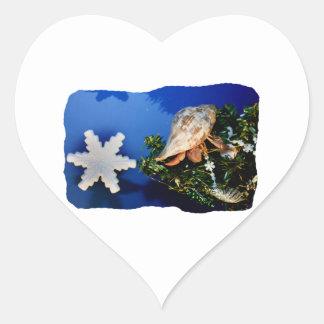 Hermit Crab Star Christmas Tree Design Heart Sticker