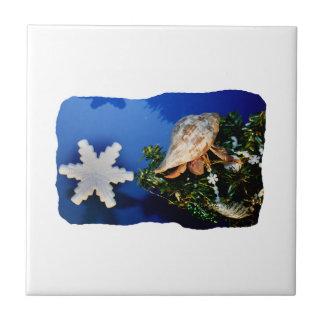 Hermit Crab Star Christmas Tree Design Tile