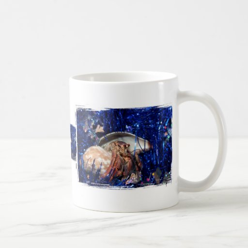 Hermit crab with blue Christmas Holiday tinsel Classic White Coffee Mug