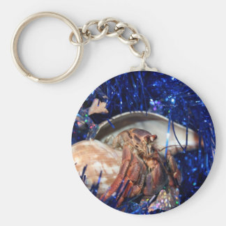 Hermit crab with blue Christmas Holiday tinsel Keychains