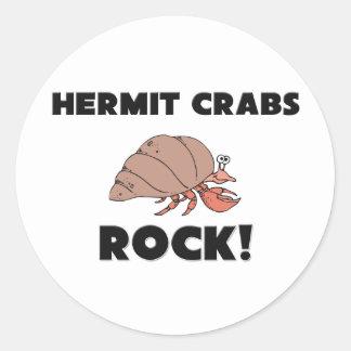 Hermit Crabs Rock Round Sticker