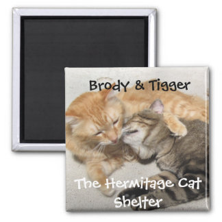 Hermitage Magnet- Brody & Tigger 2 Inch Square Magnet