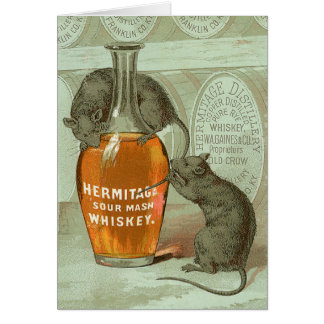 Hermitage Sour Mash Whiskey ad with two rats Greeting Card