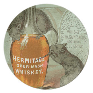 Hermitage Sour Mash Whiskey ad with two rats Melamine Plate