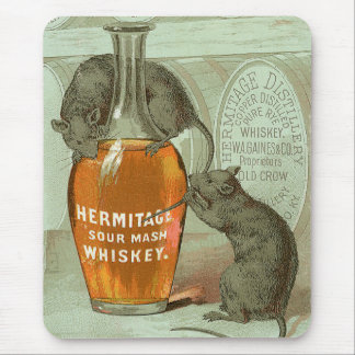 Hermitage Sour Mash Whiskey ad with two rats Mouse Pad