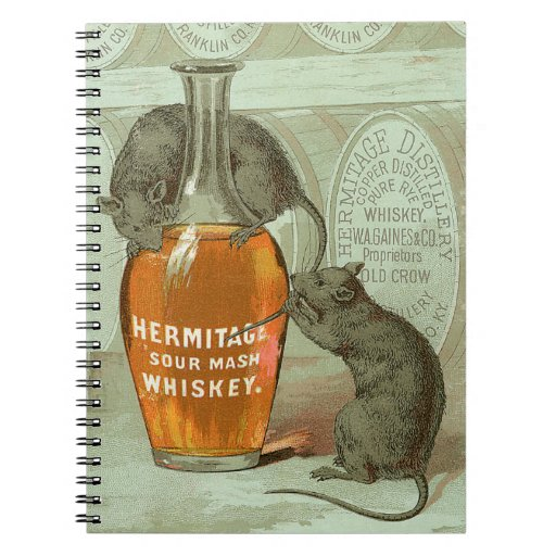 Hermitage Sour Mash Whiskey ad with two rats Note Book