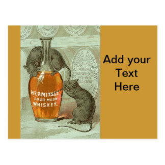 Hermitage Sour Mash Whiskey ad with two rats Postcard