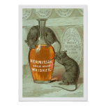 Hermitage Sour Mash Whiskey ad with two rats Posters