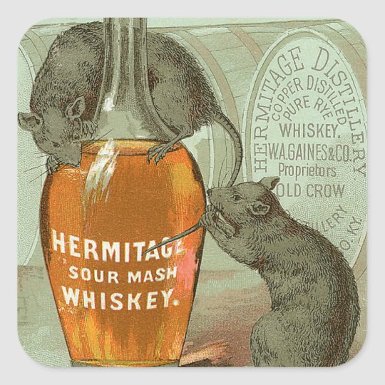 Hermitage Sour Mash Whiskey ad with two rats Square Sticker