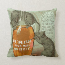 Hermitage Sour Mash Whiskey ad with two rats Throw Pillow