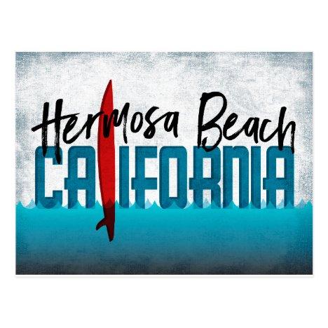 Hermosa Beach California Surfboard Surfing Postcard