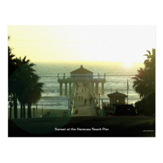 Hermosa Beach Pier Sunset Postcard