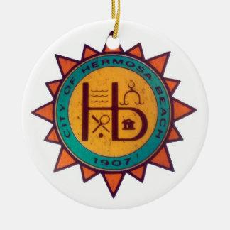 Hermosa Beach Seal Ceramic Ornament