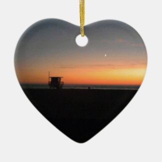 hermosa beach sunset ceramic ornament