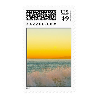 Hermosa Beach Waves at Sunrise Postage Stamps