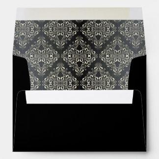 Hermosa, de plata, negro, damasco, vintage, sobres