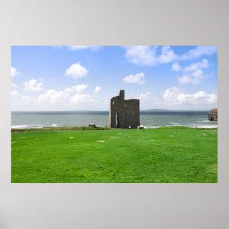 hermosa vista del castillo y del verde de póster