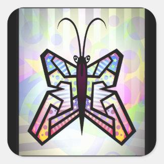 HERMOSO COLORIDO de la mariposa del arte abstracto Pegatinas Cuadradas