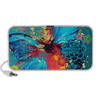 hermoso diseño abstracto azul de la mariposa mini altavoz