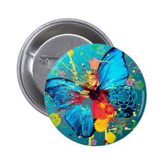 hermoso diseño abstracto azul de la mariposa pin