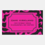 Hermoso en etiqueta rosada y negra blanco y negro