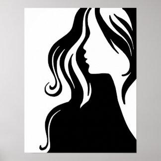hermoso femenino del chica del retrato de la mujer póster
