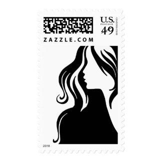 hermoso femenino del chica del retrato de la mujer sellos
