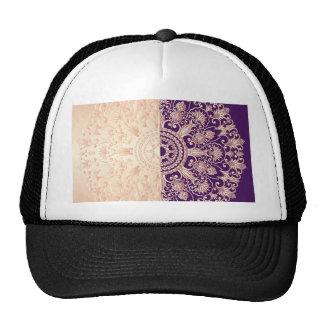 Hermoso, floral, oro, rosa, púrpura, antigüedad, gorra