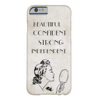 Hermoso fuerte del espejo retro de la mujer… funda de iPhone 6 barely there