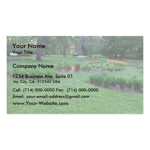 Hermoso, jardín, flores, parque, banco, hierba, Tr Tarjetas Personales