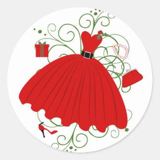 Hermoso, vestido del navidad pegatina redonda