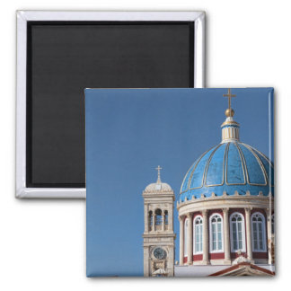 Hermoupolis, Syros Island, Greece. Blue dome of 2 Inch Square Magnet