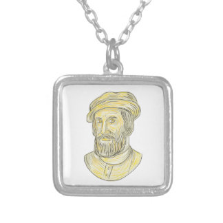 Hernan Cortes de Monroy Drawing Silver Plated Necklace