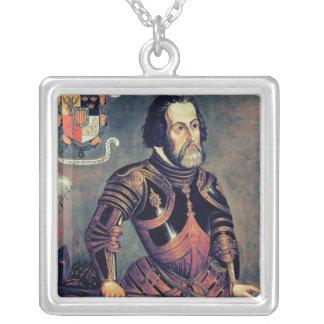 Hernando Cortes Square Pendant Necklace
