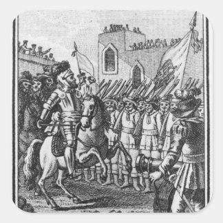Hernando Cortes que revisa a sus tropas Pegatina Cuadrada