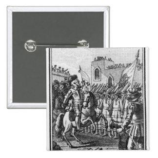 Hernando Cortes  Reviewing his Troops Pinback Button