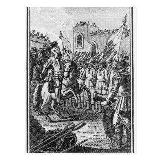 Hernando Cortes  Reviewing his Troops Postcard