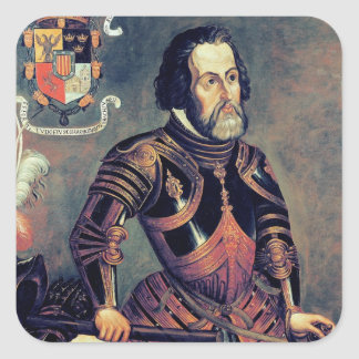 Hernando Cortes Square Sticker
