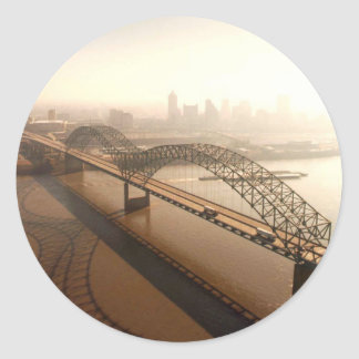 Hernando de Soto Bridge in Memphis Classic Round Sticker