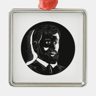 Hernando de Soto Explorer Circle Woodcut Metal Ornament
