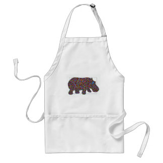 Hernando Stained Glass Hippo Adult Apron