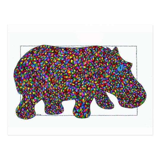 Hernando Stained Glass Hippo Postcard