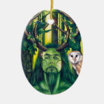 Herne the Hunter Double-Sided Oval Ceramic Christmas Ornament